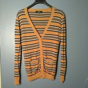 Xxi brown gray striped long-sleeve Cardigan Sz S